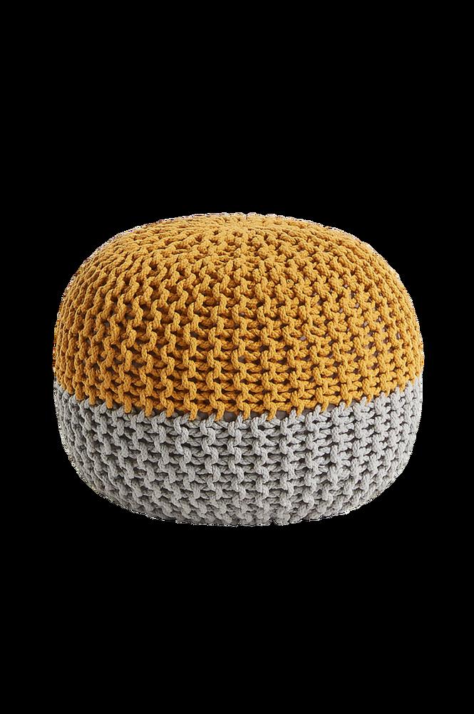 Rund puff ARIEH 50×35 bomullstextil senapsgul/grå