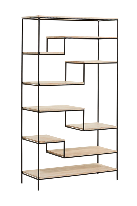 Bokhylla PYKE trä/svart metall