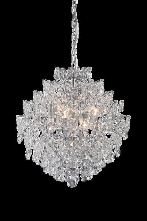 Markslöjd kristallkrona Rosendal. En fantastiskt vacker kristallkrona! Rosendal ger ett vackert sken med sina tätt hängande prismor. Liten lamphållare (E14). Max 40W glödlampa eller motsvarande styrka