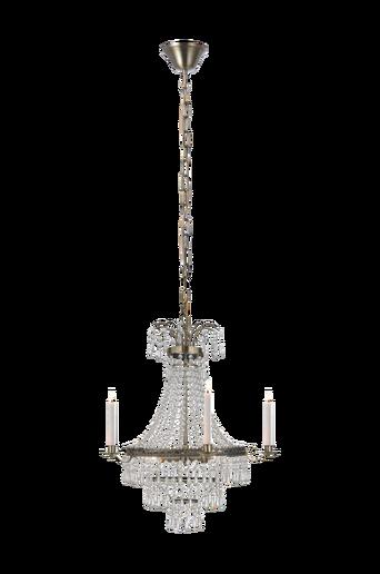 MARIELUND kattokruunu, 3 lamppua, antiikki/MC lasi