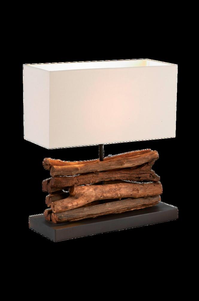 IAHAS bordslampa av tropiskt trä och vit lampskärm