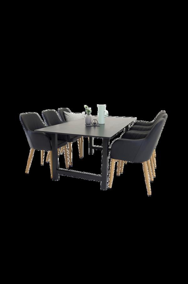 Bilde av Cissi Spisebord + Catrin PU eik stol (6-pk) - 30151