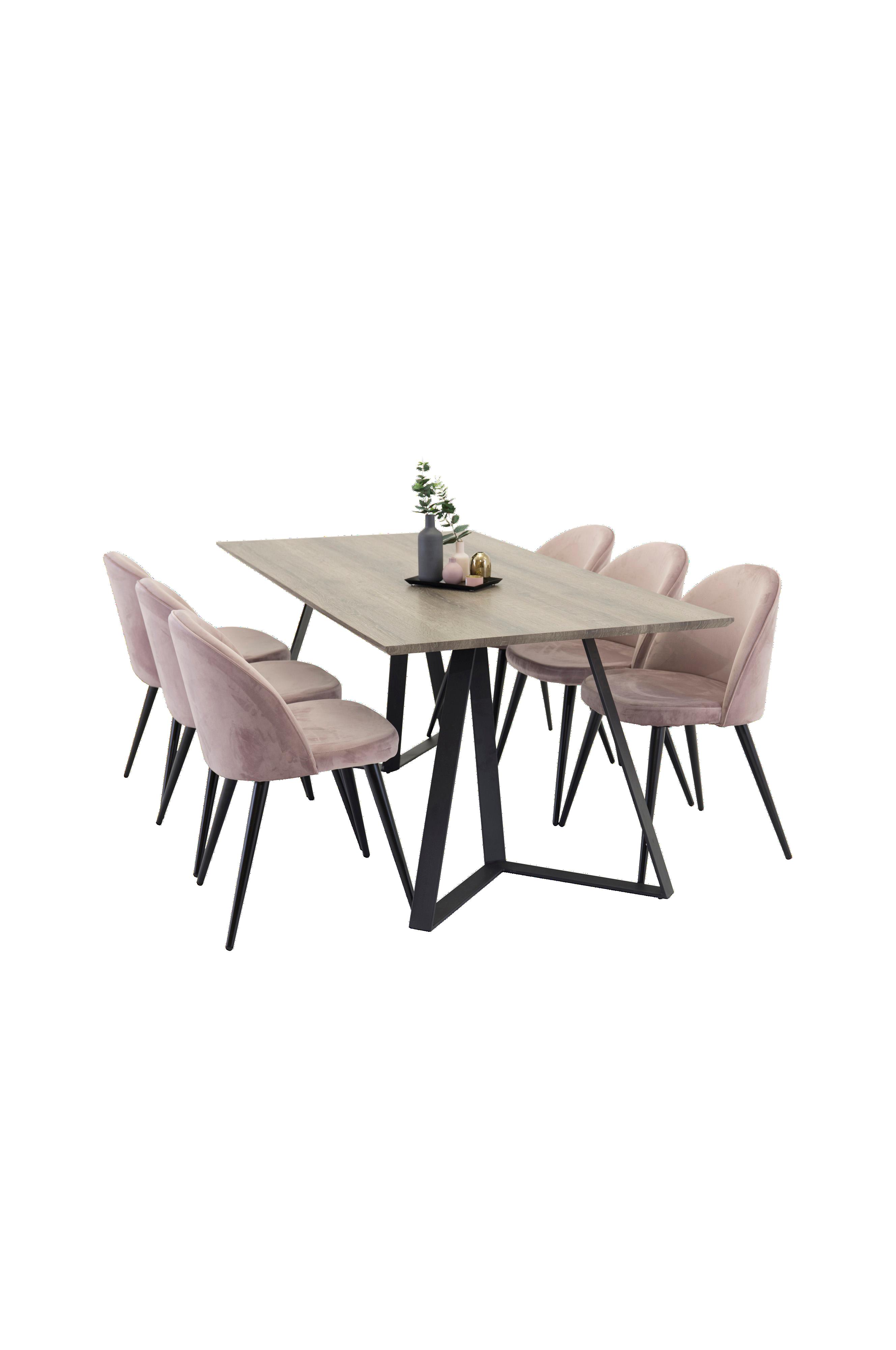 NORDFORM Maggie Spisebord og 6 Velvet stol Blå Møbler