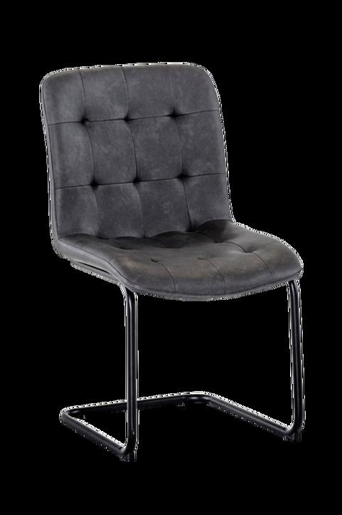 Stol FRANK grå PU med svart metallunderrede, 2-pack