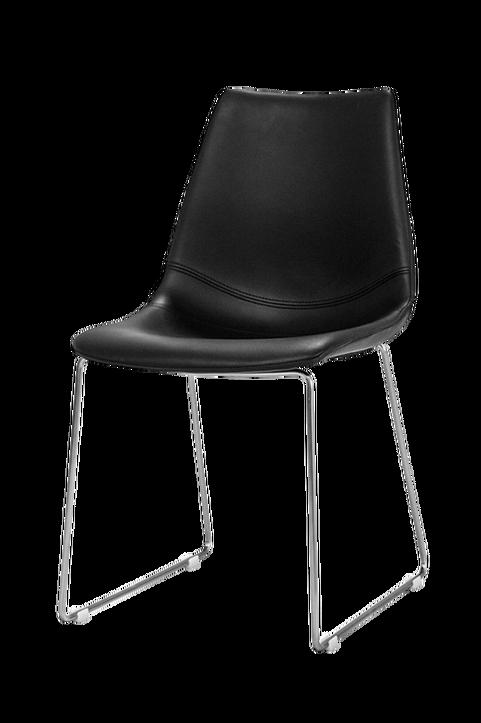 Stol FLY svart pu med borstad metallundrrede, 2-pack