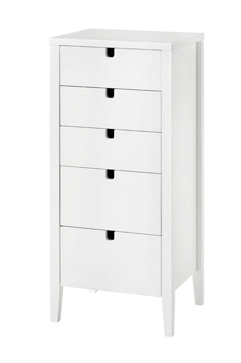 Byrå KLINTE vit med 5 st lådor