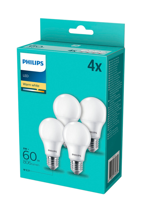 4-pack LED E27 Normal Frost 60