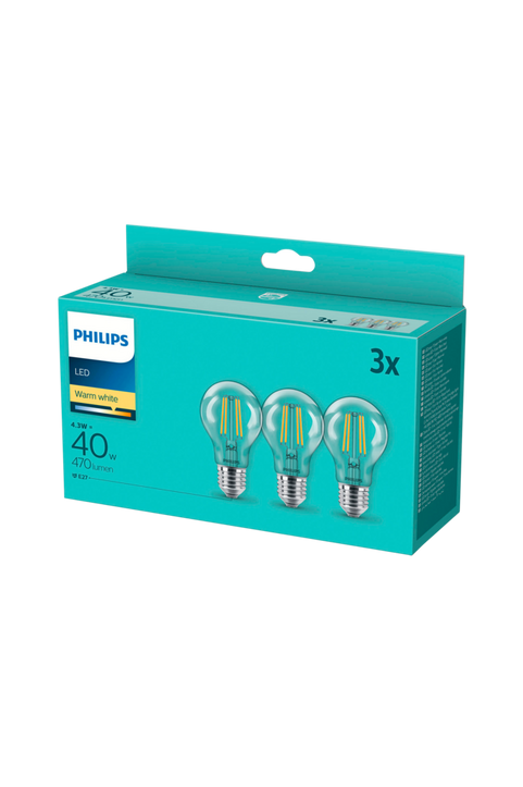 3-pack LED E27 Normal Klar 40W