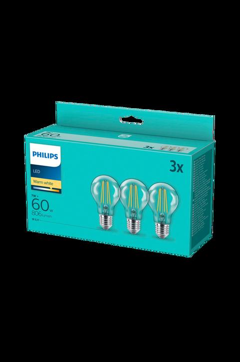 3-pack LED E27 Normal Klar 60W