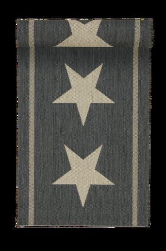 THREE STARS -bukleematto, 67x240 cm Musta/luonnonbeige