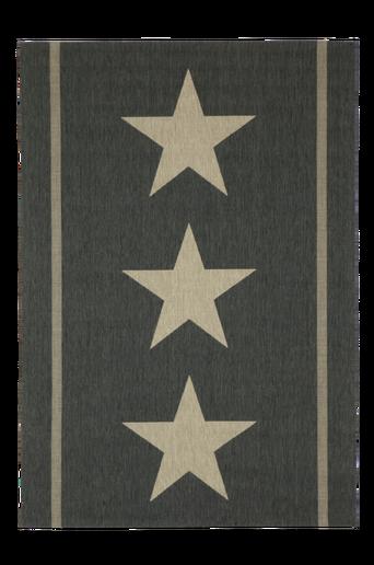 THREE STARS -bukleematto, 135x190 cm Musta/luonnonbeige