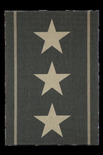 THREE STARS -bukleematto, 160x230 cm Musta/luonnonbeige