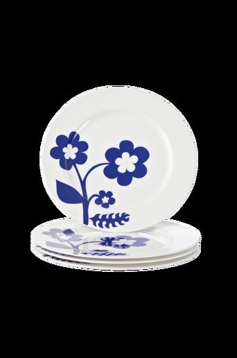 EVA-lautaset, 4/pakk. 25 cm Valkoinen/sininen