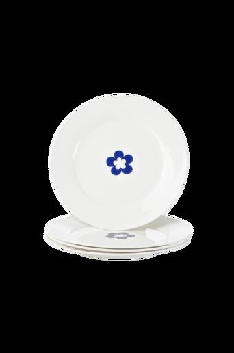 EVA-leipälautaset, 4/pakk. 20 cm Valkoinen/sininen