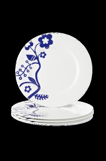EVA-lautaset, 4/pakk. 30,5 cm Valkoinen/sininen