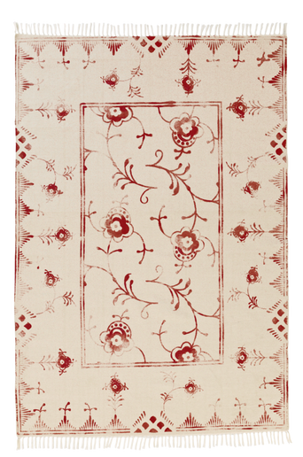 SORRENTO-puuvillamatto 140x200 cm Kermanvalkoinen/punainen