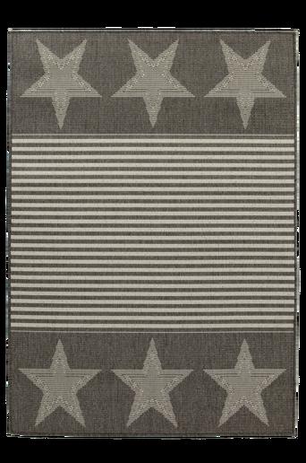 AMERIKA-bukleematto ulkokäyttöön 133x190 cm Hopeanharmaa/valkoinen