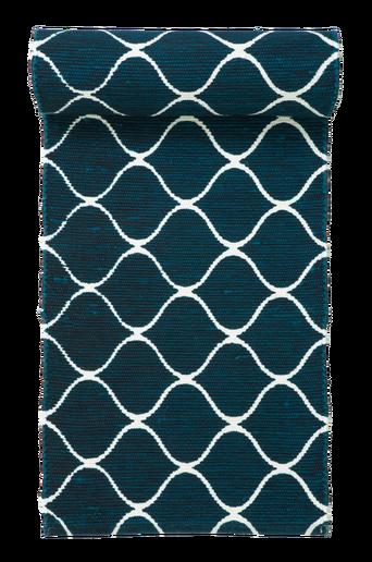 GENOVA-räsymatto 70x250 cm Valkoinen/turkoosi