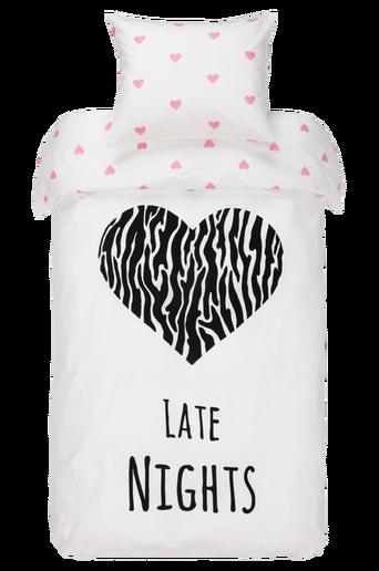 Ekologinen LATE NIGHTS -pussilakanasetti, 2 osaa Musta/roosa