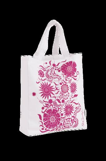 TYRA-kangaslaukku Valkoinen/fuksianpunainen