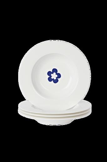 Syvät EVA-lautaset, 4/pakk. Valkoinen/sininen