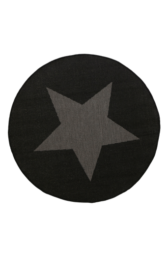 STJÄRNA-bukleematto, ø 200 cm Musta/harmaa