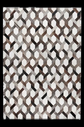 SAN MARINO -nahkamatto 160x230 cm Musta/harmaa/valkoinen