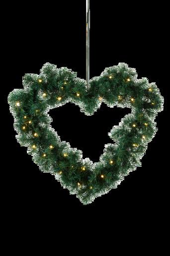 HEART-sydänkranssi, jossa valot Vihreä