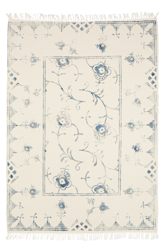 SORRENTO-puuvillamatto 160x230 cm Kermanvalkoinen/sininen