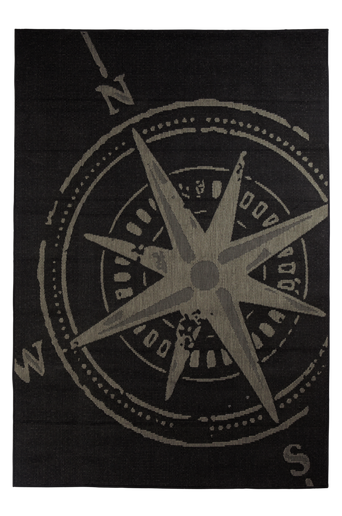 KOMPASS-bukleematto, 133x190 cm Harmaa/musta