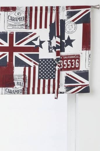OLD FLAGS -laskosverho, kuviollinen Valkoinen