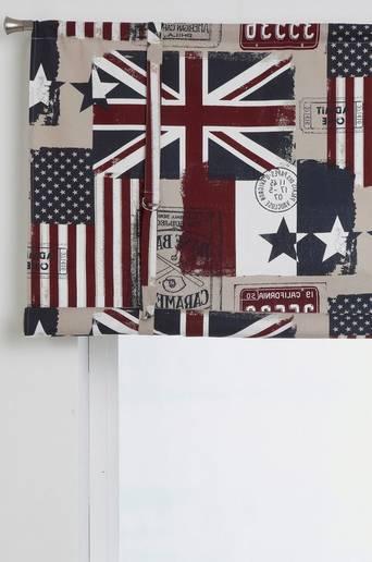 OLD FLAGS -laskosverho, kuviollinen Beige