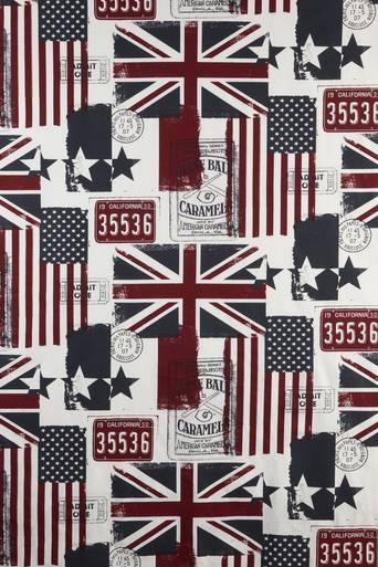 OLD FLAGS -kangas, 5 metrin valmispala Valkoinen