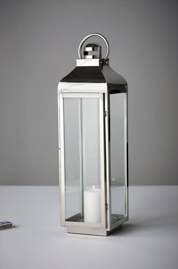 Bilde av ANTIGUA lyslykt - stor - Sølv