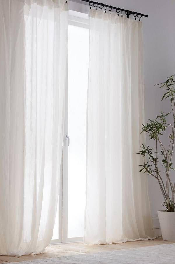 Bilde av COCOON gardin med multifunksjonsbånd 2-pk - Hvit