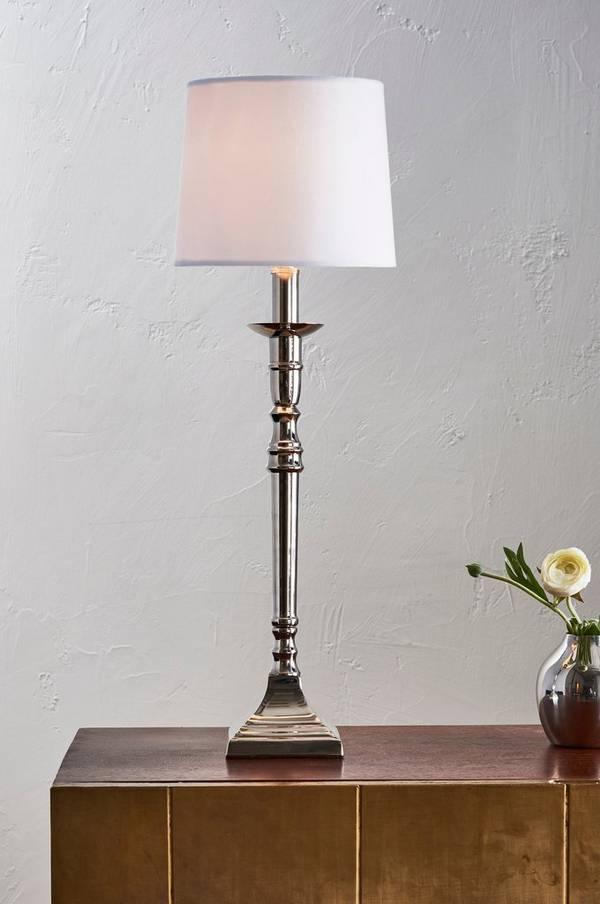 Bilde av ARIEL bordlampe - høy - Krom/hvit