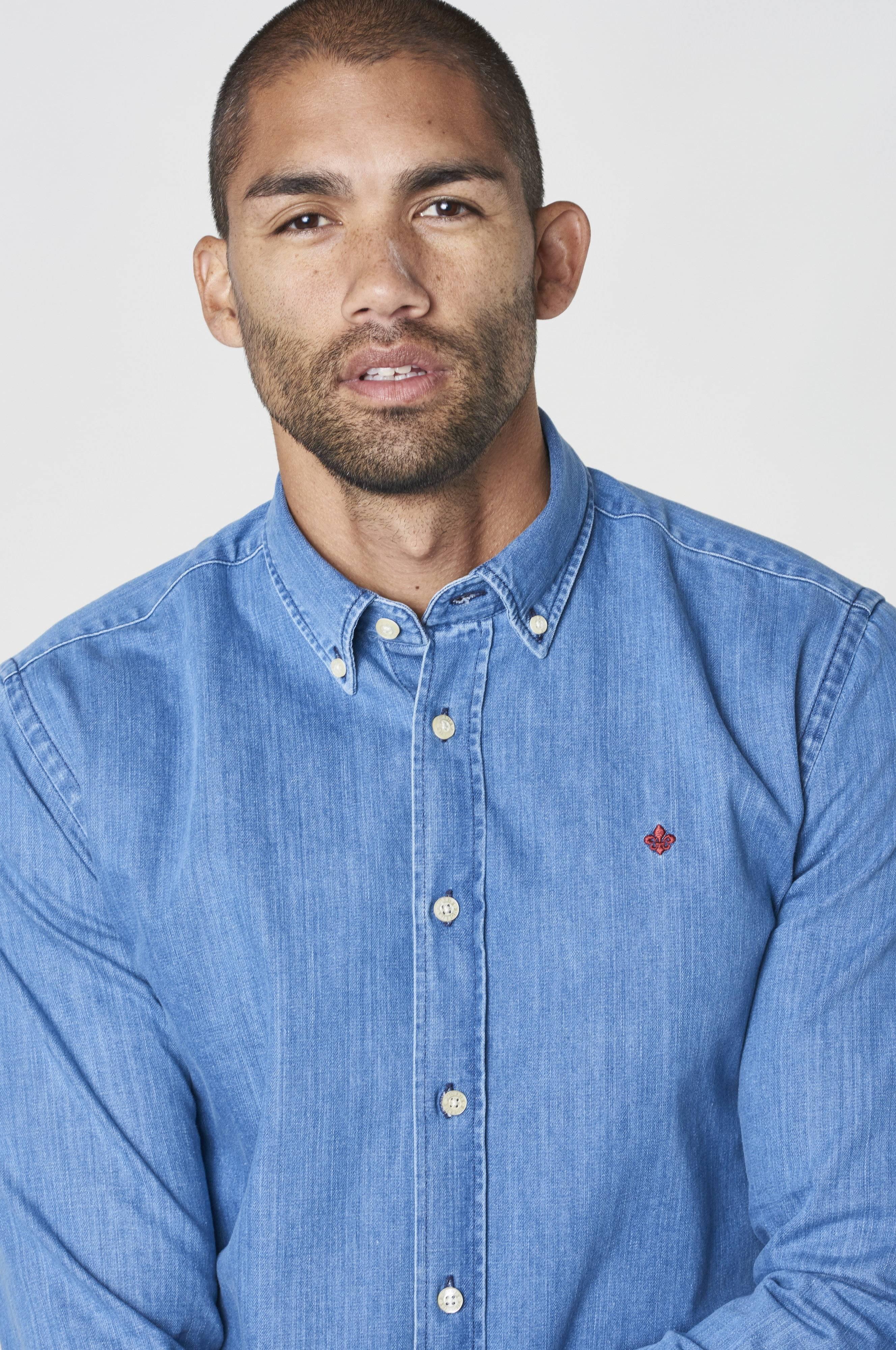 Morris Cary Grant Denim Shirt Skjortor Blå