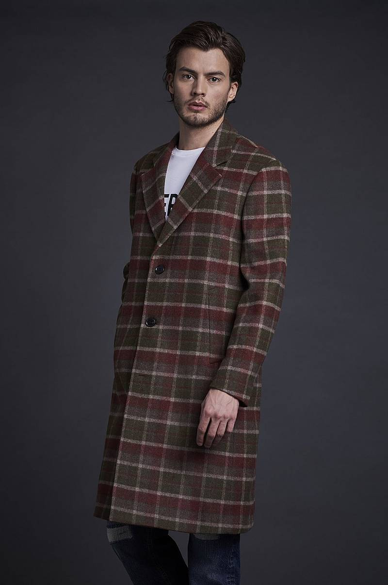 Rock Wool Coat Plaid