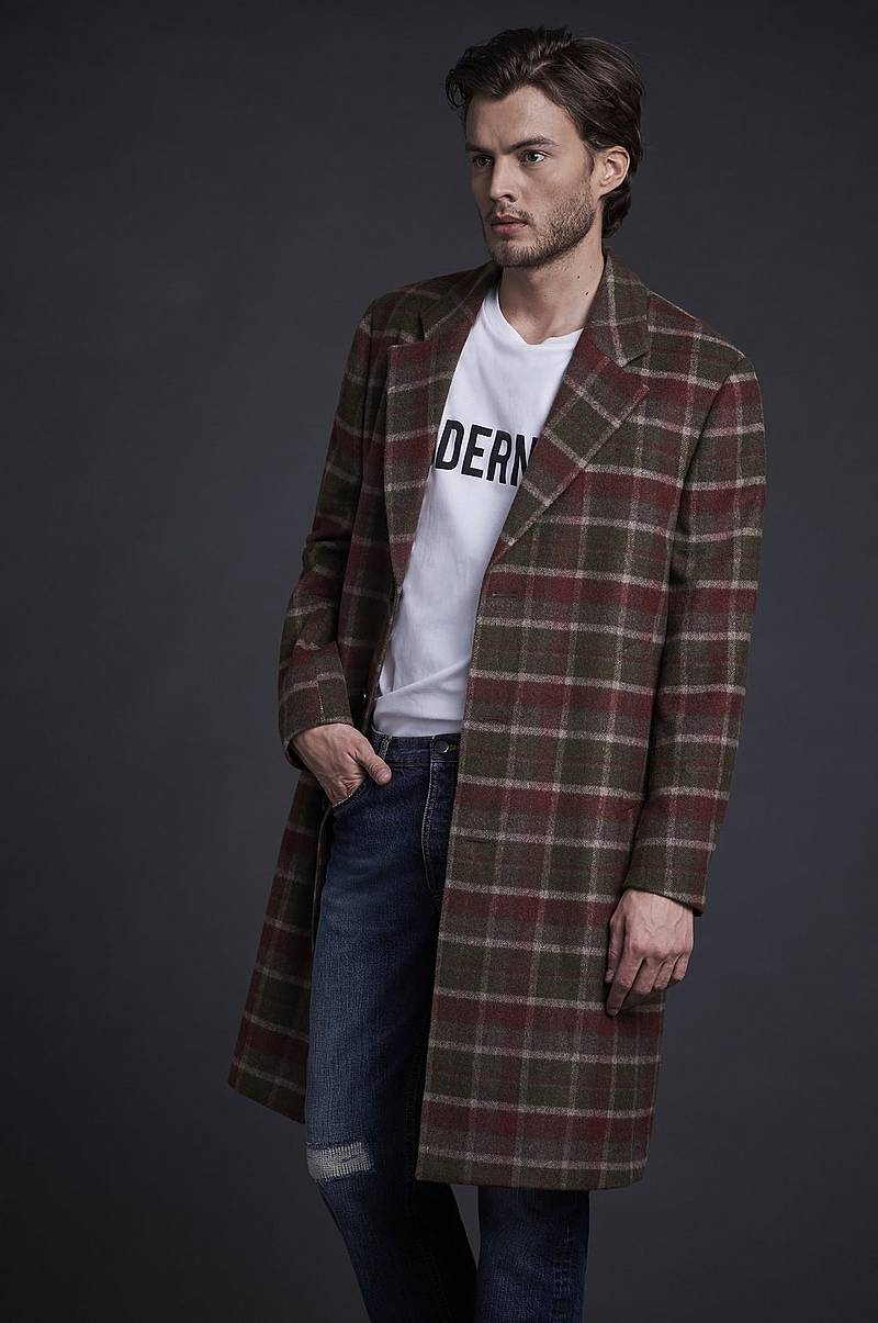 Frakke Wool Coat Plaid