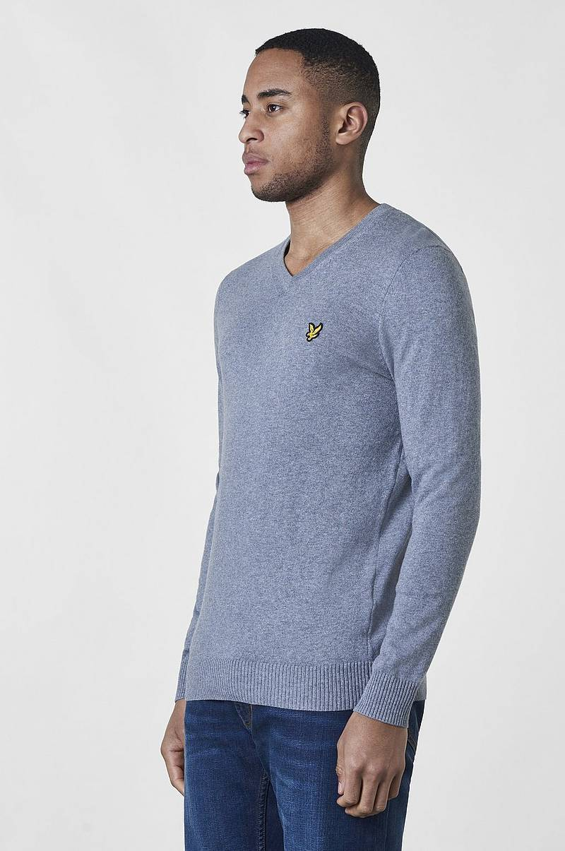 Stickad tröja V - Neck Cotton Merino Jumper