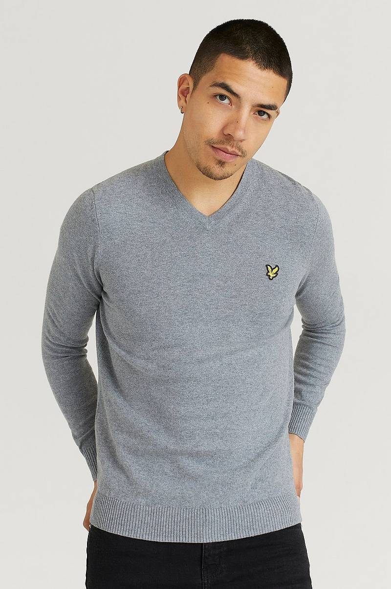 Strikket genser V - Neck Cotton Merino Jumper