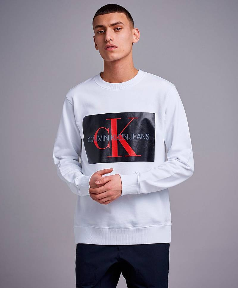 Monogram Box Logo Crewneck 901 Bright White / CK Black