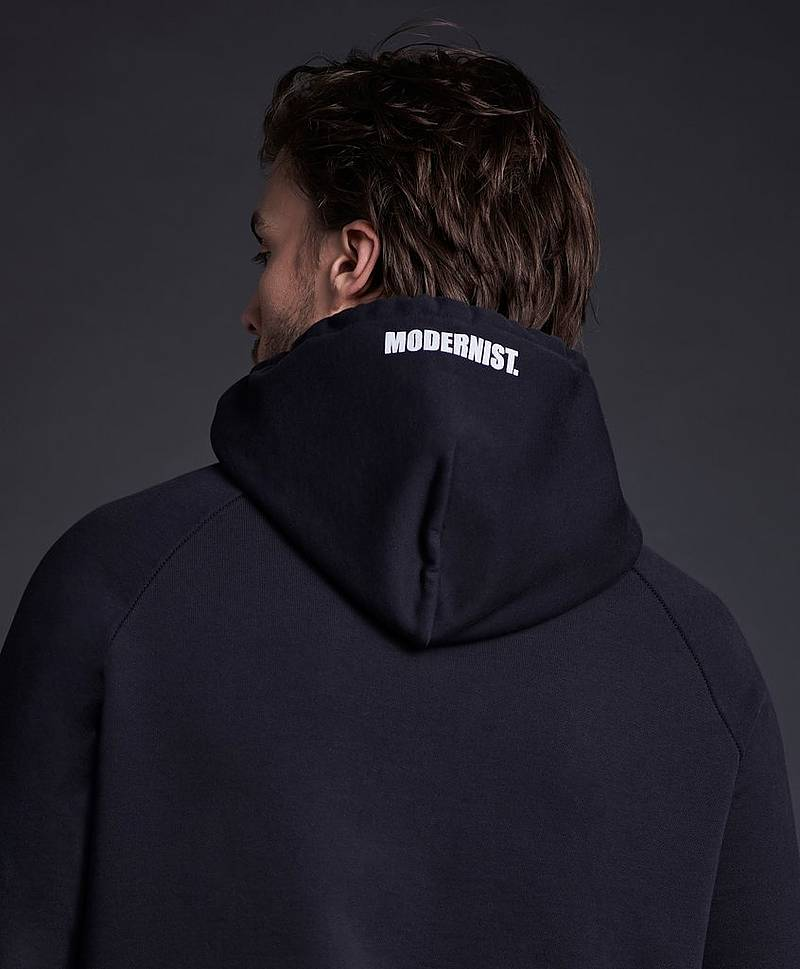 Hoodie Black With Print On Hood
