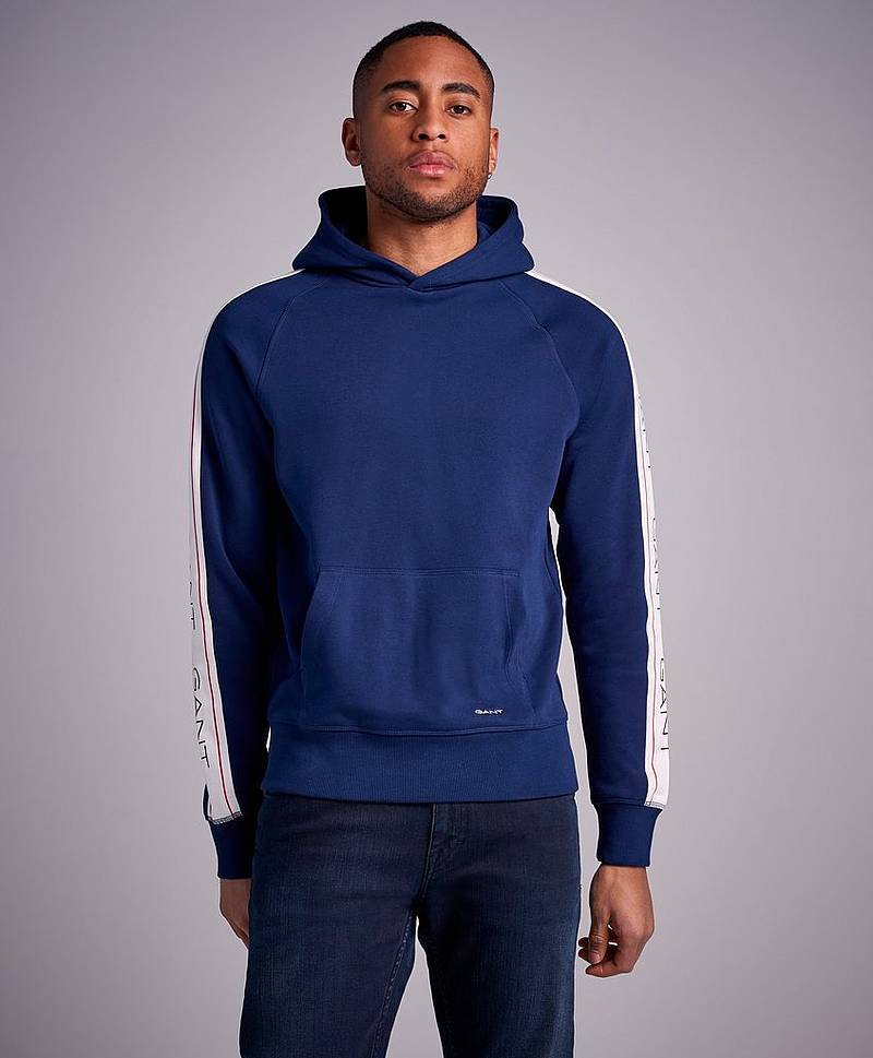 Gant Archive Stripe Sweat Hoodie Light Grey mel