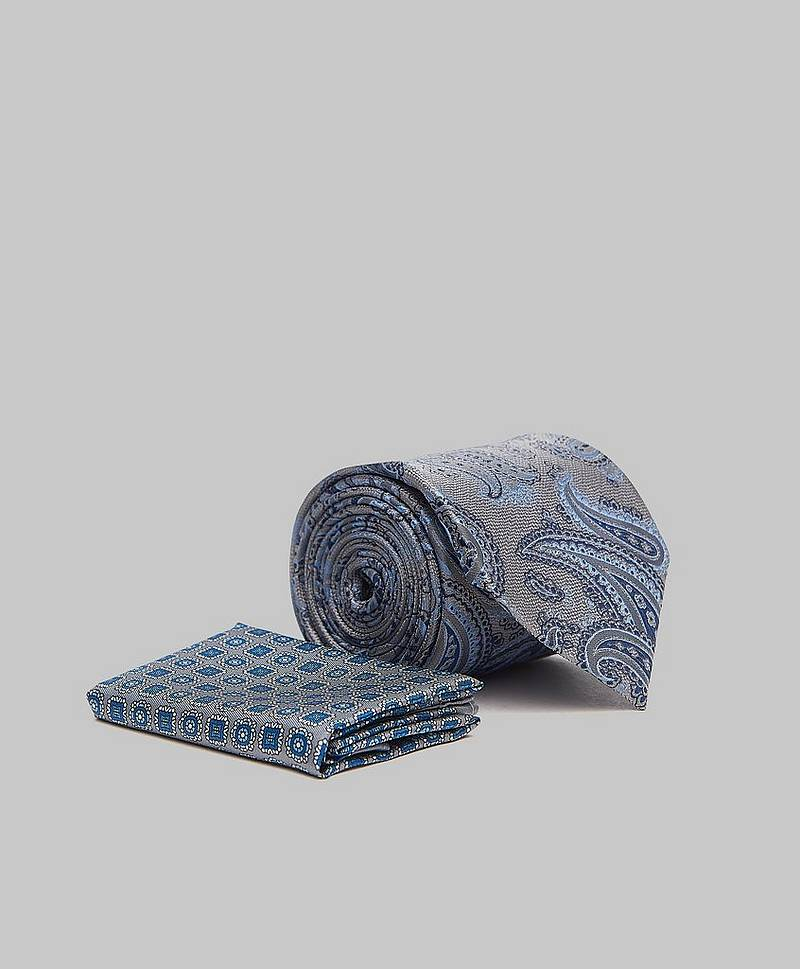Tie & Hankie Box Set Grey