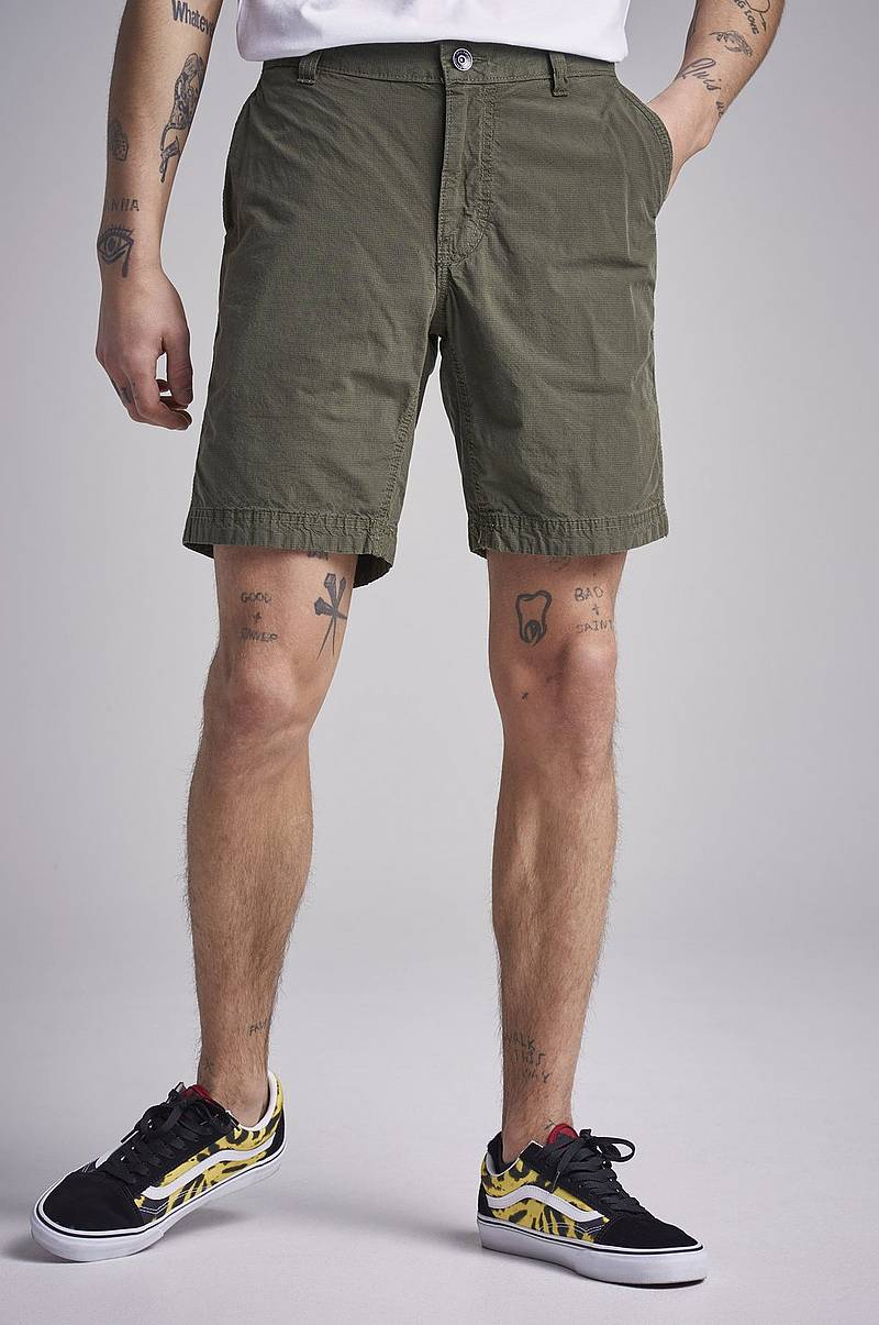 Grinder Check Chino Shorts Military Green