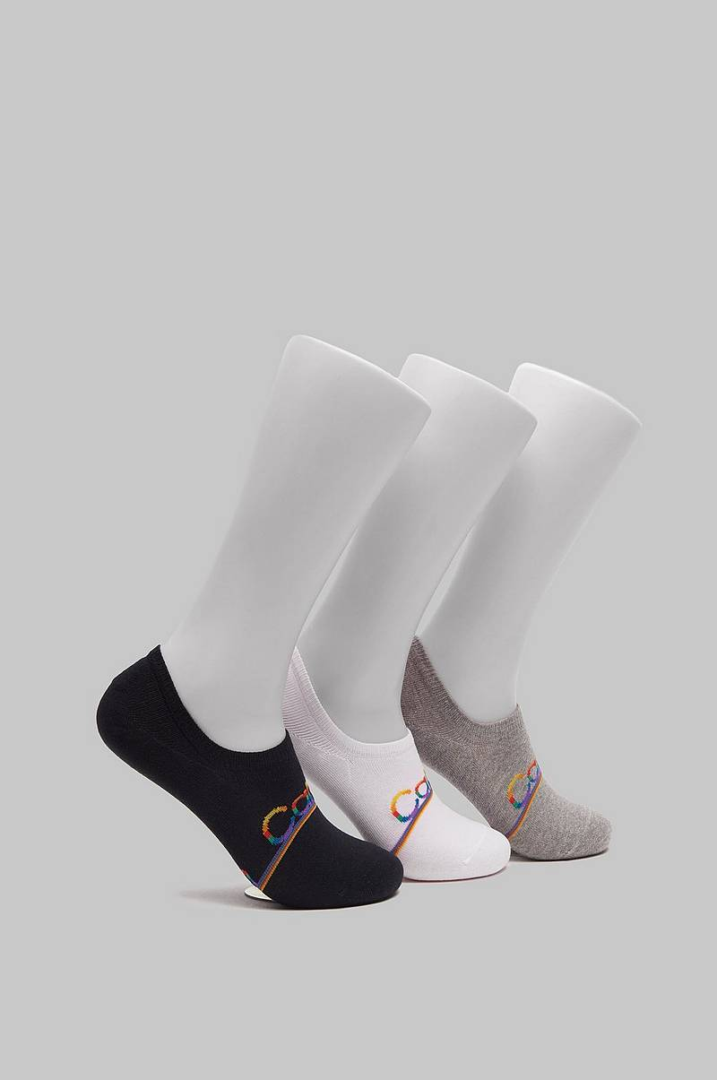 Strumpor Toby 3-pack Pride Liner 96 White/Grey/Black