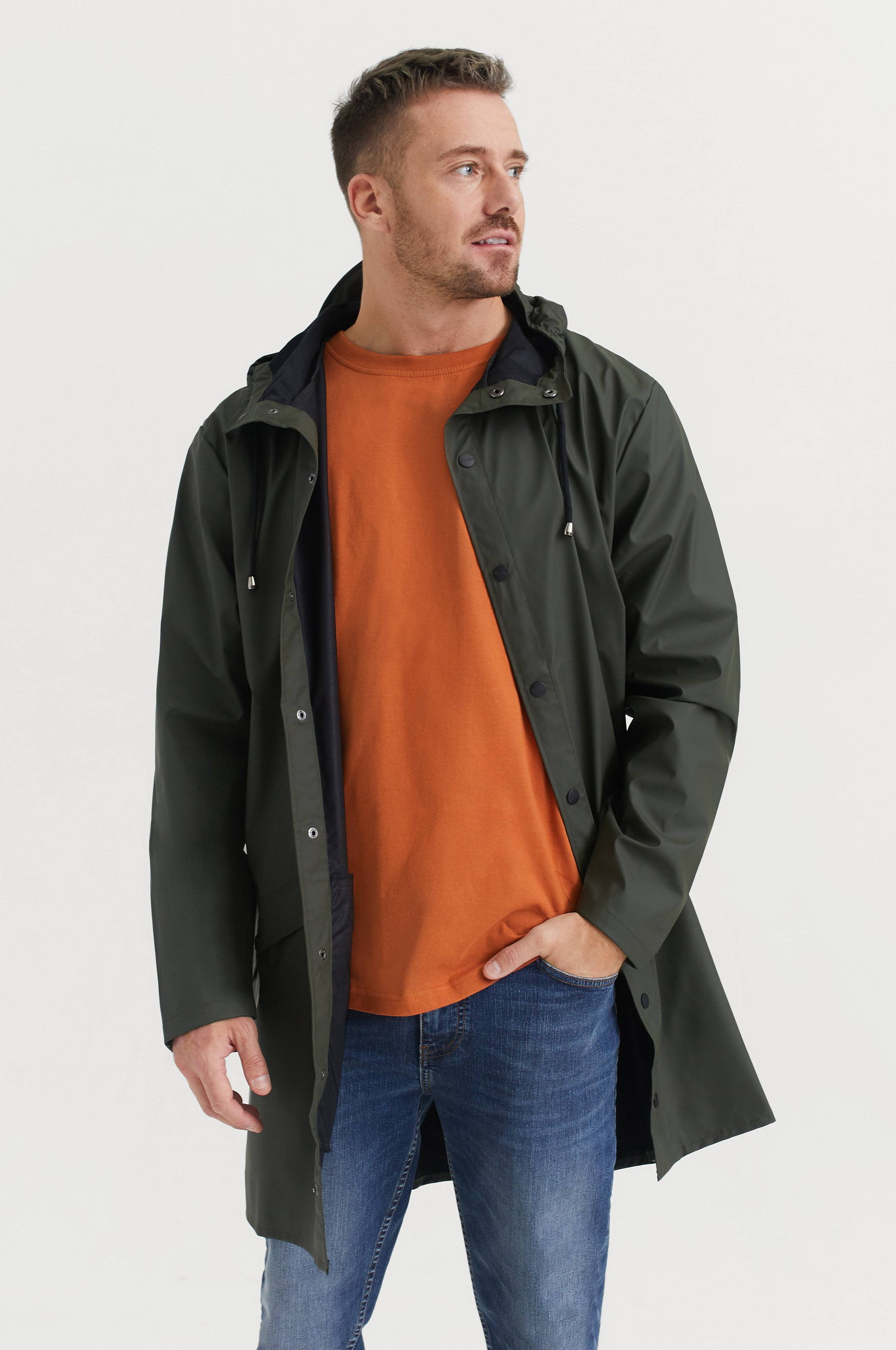 Rains Long Jacket Jackor Green