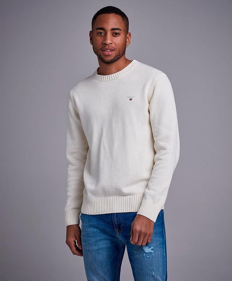 Gant Strikket genser Casual Cotton Crew Hvit Klær