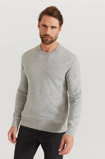 Filippa K Stickad tröja Cotton Merino Basic Sweater Grå